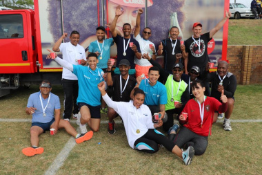 Peninsula Beverages welcomes winners of the Fun Run with refreshments