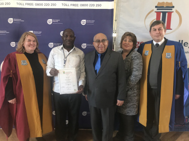 Nadia von Vielligh (Hugenote Kollege), Mr. Zukisani Panya (graduate who was a groundskeeper and now is a CYC worker), Minister Fritz, Leana Goosen (DSD Head of Facilities), Rev. Willie vd. Merwe (Rector of Hugenote Kollege)