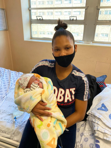 Mother Wendolene Swarts with her baby boy, who was the third baby born in the Cape Metro on Christmas Day.