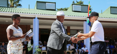 Minister Dan Plato had the honour of handing out the certificates to the Chrysalis Academy graduates.
