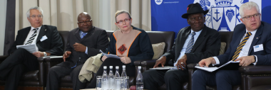 Prof Dr Wilhelm Schmidbauer, Mr Alvin Rapea, Premier Helen Zille, National Police Minister, Mr Bheki Cele and MEC for Community Safety, Mr Alan Winde were panellists during the opening session of the plenary held on Tuesday, 13 November 2018.