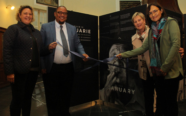Poet Khadija Heeger, DCAS Chief Director for Cultural Affairs guy Redman, Minister Anroux Marais and Curator Siona O'Connel officially open the 'My name is February' exhibition at the Sendinggestig Museum in Cape Town