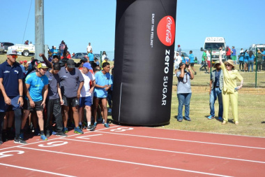 Premer Helen Zille sets off the fun run at the Metro Better Together Games in Bluedowns