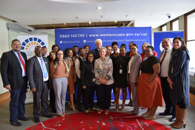Premier Winde, Minister Marais and HOD Walters with some of the HWC staff