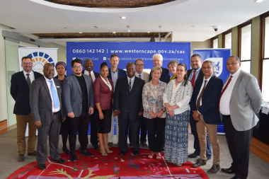 Premier Winde, Minister Marais, HOD Walters and Managers with the new Council