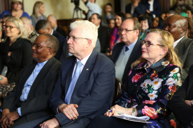 Professor Njabulo Ndebele, Minister Alan Winde and Premier Helen Zille at the Nelson Mandela statue unveiling