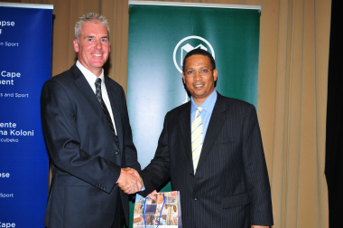 Prof. Simeon Davies (CPUT) and Minister of Cultural Affairs and Sport, Dr Ivan Meyer at the conference