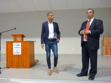 Architect and Project Manager, Clive Truter and Minister Meyer in the new hall of Swartland Secondary School.