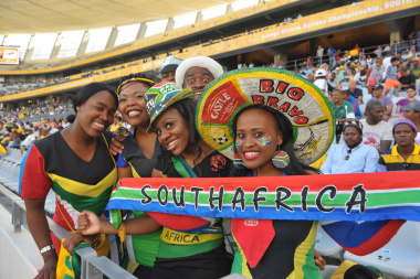 Proud South African supporters in the colours of their favourite team.
