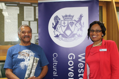 Provincial Archive Service Director Nikiwe Momoti (left) with family researcher Aubrey Springfield