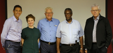 From left:  Mr Crispin Sonn, Ms Clare Ballard, MEC Alan Winde, Ntlupheko James Yekiso and Professor Clifford Denning Shearing