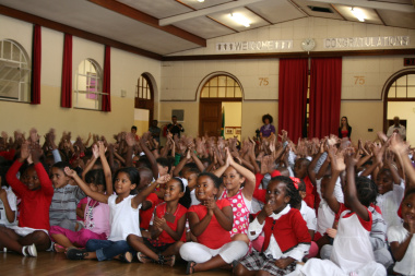Pupils at St. Augustine Primary School could hardly contain their excitement during the production.