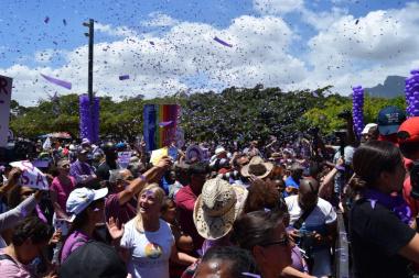 Purple confetti added even more colour  to the occasion
