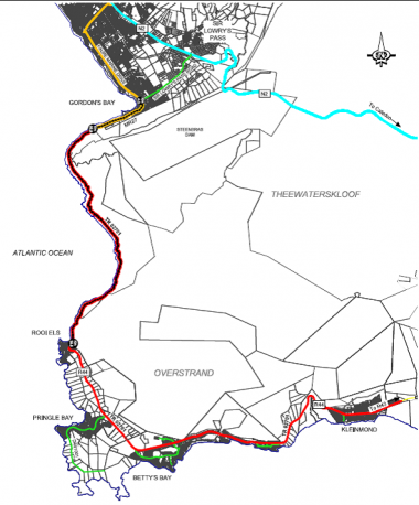 The affected road is indicated in red.
