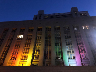The Western Cape Legislature is lit up in rainbow colours
