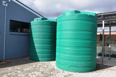 Rainwater harvesting tanks for irrigation purposes.