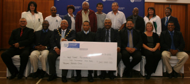 Representatives of sport federations and dignitaries at the cheque handover ceremony.