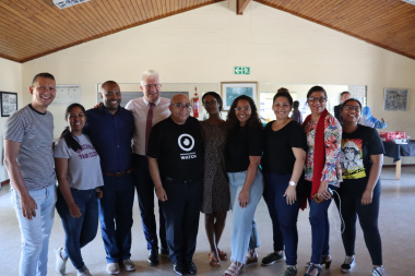 Ricardo Mackenzie MPL, Premire Alan Winde and Minister Fritz with local councilors and facilitators