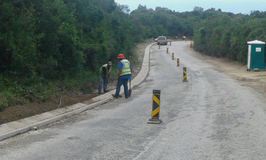 Road works in the Wilderness area.