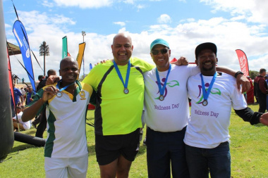 Ronald Gabriel, deputy director at DCAS (second left), with proud participants from Cederberg Municipality after the big walk