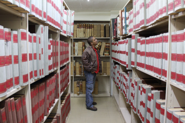 Ruben Botha exploring one of the 45 stack rooms where archival records are kept