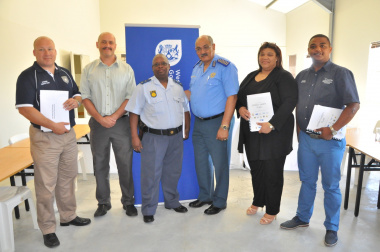 Rudi Fraser (Overstrand Municipality), Hector Eliott, Captain Dawie Julies (SAPS Overberg Cluster), Kenny Africa, Myllison Saptou (Cape Agulhas Municipality) and Saul Jacobs (Theewaterskloof Municipality).