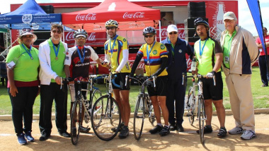 Saldanha Bay Municipality Council with the medallists of the cycling event