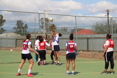 SAPS vs Breedevalley Municipality during a netball match at the Cape Winelands BTG