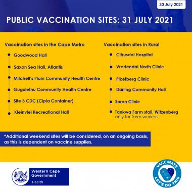 Saturday vaccination sites 31 July 2021