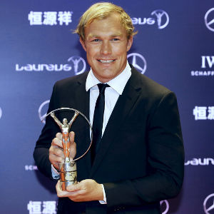 Schalk Burger awarded the Comeback of the Year award at the Laureus World Sports Awards