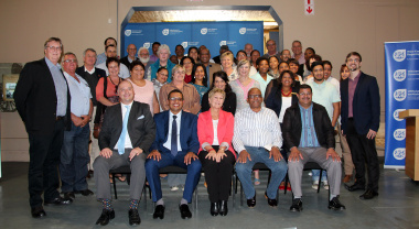 Shadow minister of Tourism James Vos, Mayor Klaasen and Minister Marias with guests at the launch