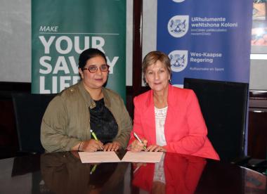 Shameema Nazier from Nedbank with Minister Marais