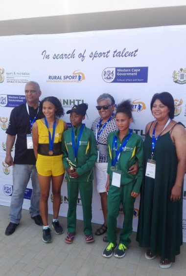 Sharon Siljeur, Treasurer of Cape Town Sport Council, with the two proud Central Karoo Sport Academy winners who won gold and silver
