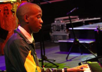 Sibusiso Tshayithi from the Langa School's Music Project on keys at the Arts and Culture Focus Schools Live Performance on Sunday