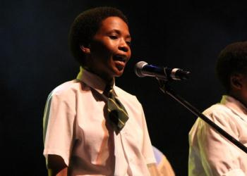Sisipho Ntese from the Langa School's Music Project serenading the crowd