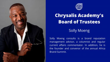 Solly Moeng brand reputation management advisor, is a columnist and regular current affairs commentator. In addition, he is the founder and convenor of the annual Africa Brand Summit.