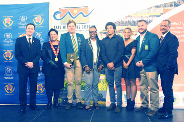 Some of the award winners with JP Naude, Ald von Schlicht and Lorenzo Arendse