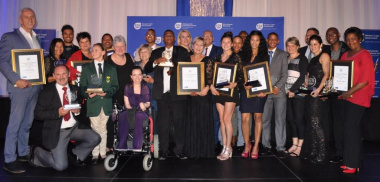 Minister Anroux Marais and DCAS HOD Brent Walters with some of the 2017 Western Cape Sport Awards Winners