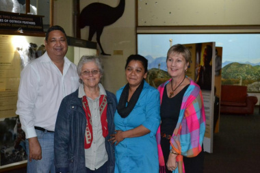 SOMS Director Shaun Julie, Researcher Hilda Boshoff, Acting Museum Manager Lelani Boonzaaier and Minister Marais at the CP Nel Museum