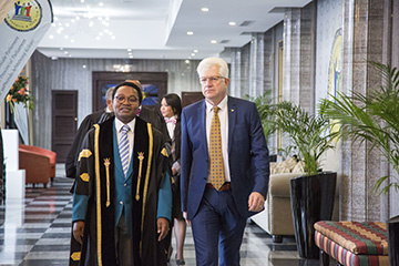 Premier Alan Winde and Speaker of the Provincial Parliament Masizole Mnqasela on their way to the Chamber where the State of the Province Address is delivered.