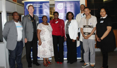 Speakers at the Xhosa Colloquium with DCAS staff. From left Unathi Kondile, Quintus van der Merwe, Thembeka Sineke, Zimkitha Jikwana, Jane Moleleki, Xolisa Tshongolo, Chris Dewu and Beaulla Stofile.