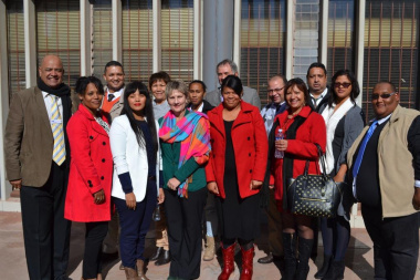 Staff at the West Coast regional sport office with Minister Marais and managers from Head Office