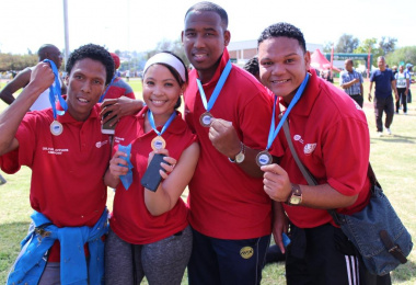 Staff from the DCAS Oudtshoorn Arts and Culture office with their medals after participating in the Fun Walk. From left Denver Jansen, Mauresha Piedt, Elton Louw and Dimitri Japies.