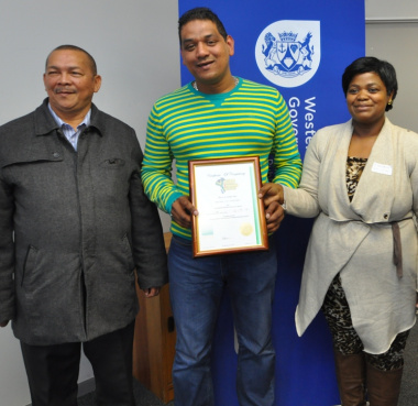 Stanley Amsterdam (Treasurer of SANTACO Western Cape) with Riza Ismael and Buyelwa Mboya of the Department of Transport and Public Works.