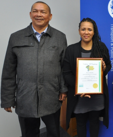 Stanley Amsterdam (Treasurer of SANTACO Western Cape) with Jacqueline Rhamatoola.