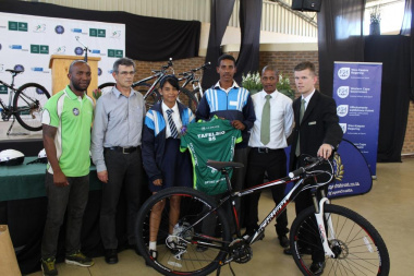 Students from Tafelsig Secondary School receiving their gear