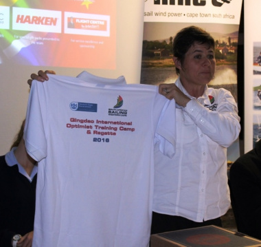 Team leader and SASWC Chairperson, Bev le Sueur unveiling the team kit