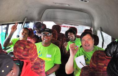 Team #ZeroEmissions taking a minibus taxi to Langa.