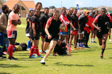 Teamwork prevailed during a rugby match between SANDF and George Municipality