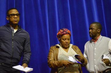 The adjudicators from the Baxter Theatre, Thami Mbongo, Zoleka Helesi & Bongi Mantsai
